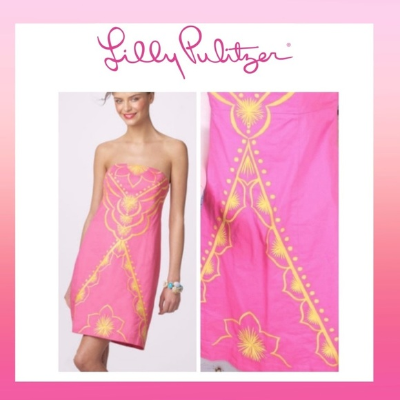 Lilly Pulitzer Bowen Pink/Yellow Bee Casual Dress
